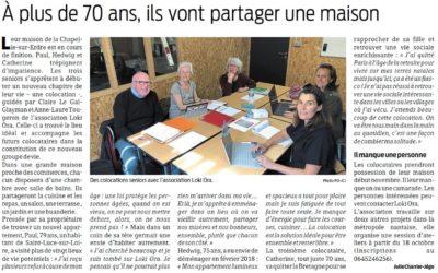 Un nouvel article sur le lancement de la colocation de La Chapelle-sur-Erdre